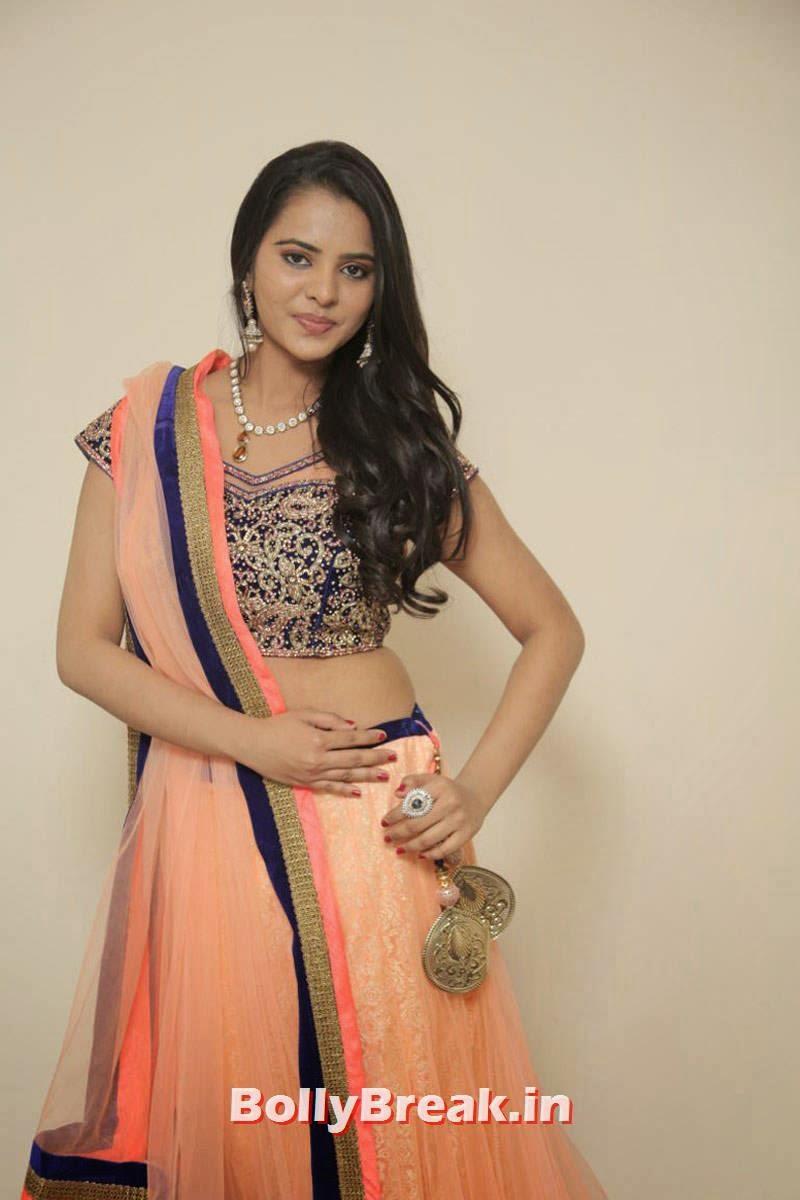 Actress Manasa Pics, Actress Manasa hot Photos in Backless Choli & Lehenga