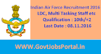 Indian Air Force Recruitment 2016 for LDC, Multi Tasking Staff etc Posts Apply Here