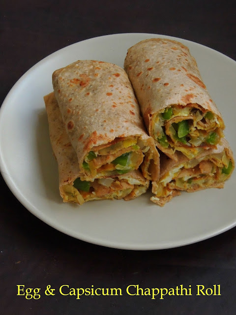 Chappathi wrap with egg & capsicum, Egg Bellpepper wrap
