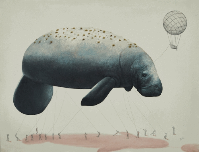 09-Dugong-Ricardo-Solis-Surreal-Illustrations-of-Animals-in-Mid-Construction-www-designstack-co