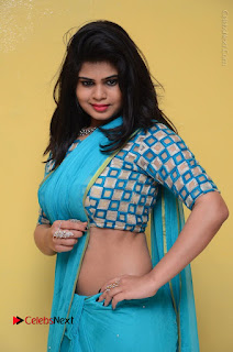 Telugu Actress Alekhya Stills in Green Saree at Swachh Hyderabad Cricket Press Meet  0057.JPG