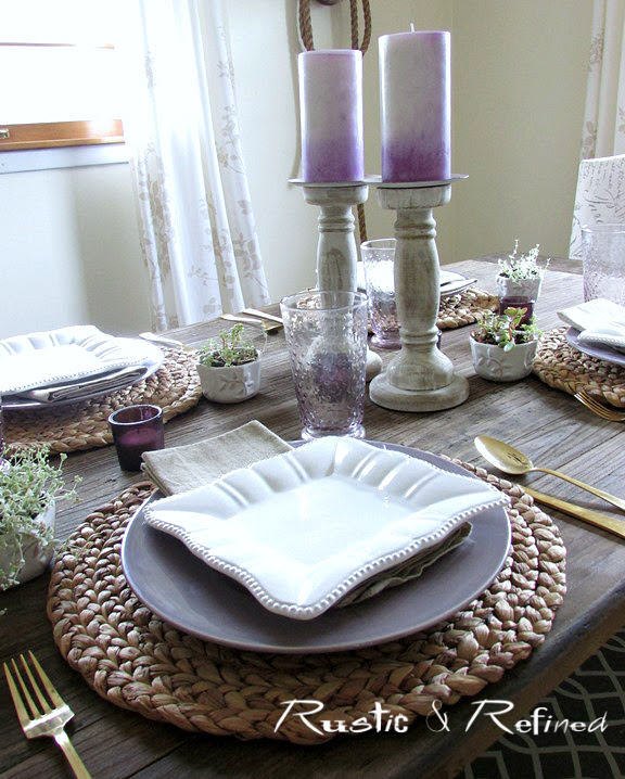 Rustic Tablescape using burlap and easy to care for dishes