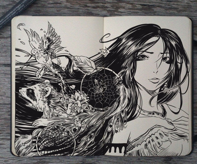 08-Pocahontas-Gabriel-Picolo-Disney-Fantasy-Ink-Drawings-in-Moleskine-Illustrations-www-designstack-co