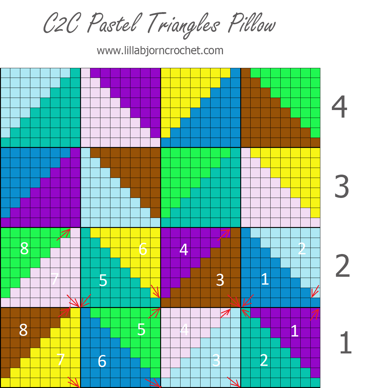 C2C Pastel Triangles pillow - join as you go - tutorial by www.lillabjorncrochet.com