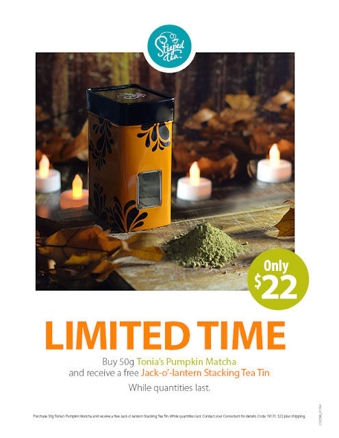 LIMITED TIME Pumpkin Matcha Tea from Steeped Tea
