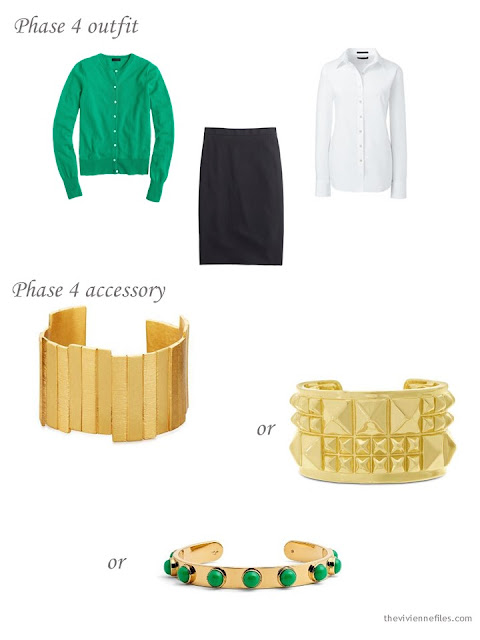 How to add a gold cuff bracelet to a business capsule wardrobe