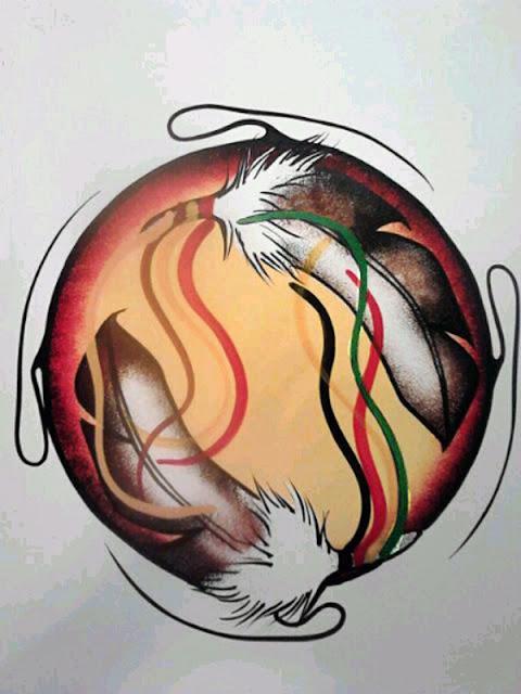 Acrylic painting by Simone McLeod, Niizho-migizi-miigwanan Miinigowin