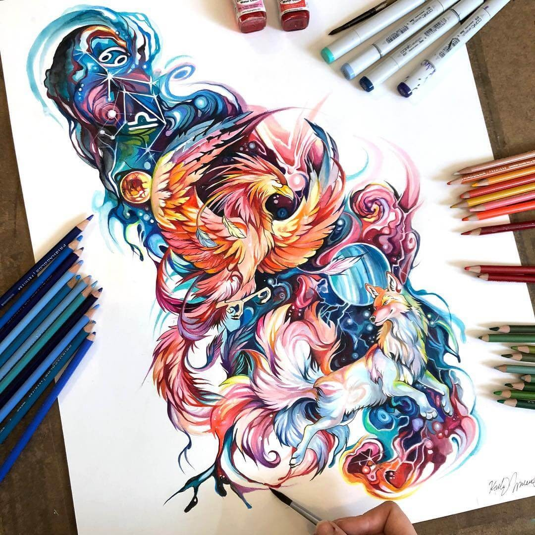12-Phoenix-and-Kitsune-K-Lipscomb-Fantasy-and-Real-Life-Animal-Drawings-www-designstack-co