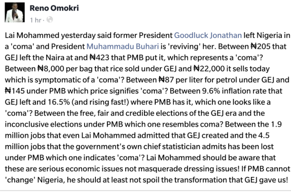 Reno Omokri replies Lai Mohammed's comment that GEJ left Nigeria in a coma