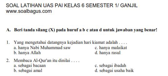 Soal UAS Agama Islam Kelas 6 Semester 1  Oemar Bakri
