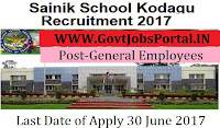 Sainik School Kodagu Recruitment 2017–Ward Boys, General Employees