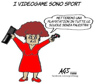 playstation, videogame, fedeli, scuola, palestre, sport, vignetta, satira