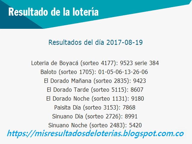 Como jugo la lotería anoche | Resultados diarios de la lotería y el chance | resultados del dia 19-08-2017