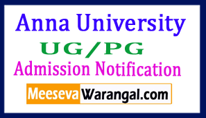 Anna University UG PG Admission Notification