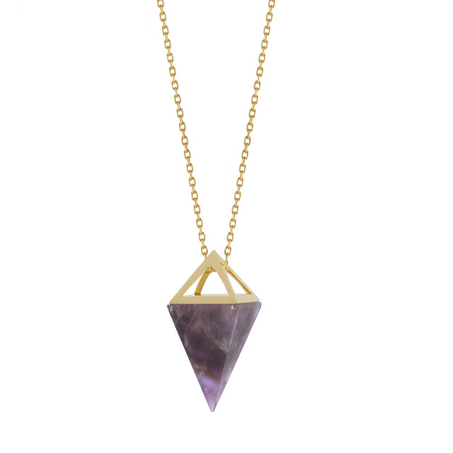 This necklace conjures up so many images of ancient jewellery. Amethyst has always been a  popular and powerfully meaningful gemstone. Noor's latest capsule collection celebrates the beautiful synergy between the scientific precision of crystal forms found in nature and the mysticism of talismanic jewellery in the form of pendants, earrings and rings.