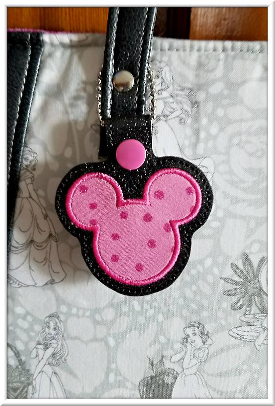 Custom Disney Princesses Tote Bag with Custom Mickey Head Purse Charm   3 Garnets & 2 Sapphires