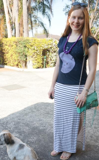 monster threads moon graphic tee navy stripe split white maxi skirt aqua bag | awayFromBlue