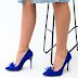 Pantofi eleganti albastri de evenimente deosebite din piele intoara eco cu toc subtire
