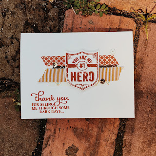 My Hero stamp set and Badge punch thank you card