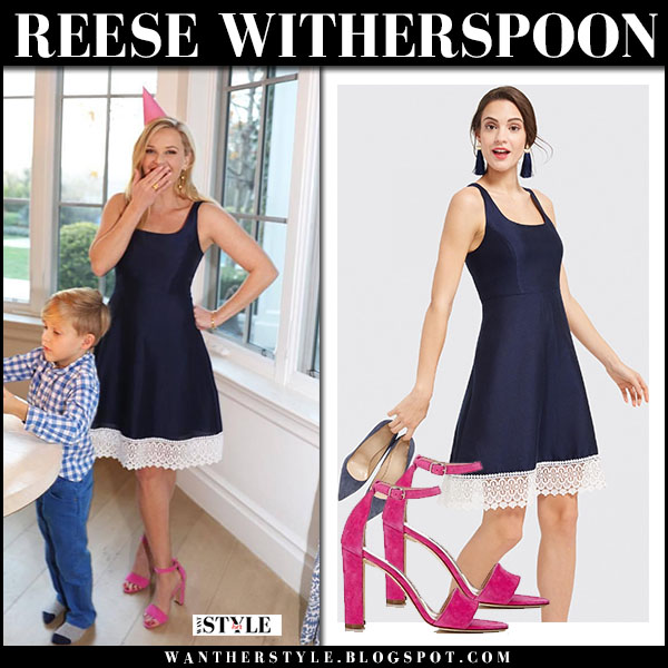 Reese Witherspoon in navy lace trim dress draper james and pink sandals party fashion march 22