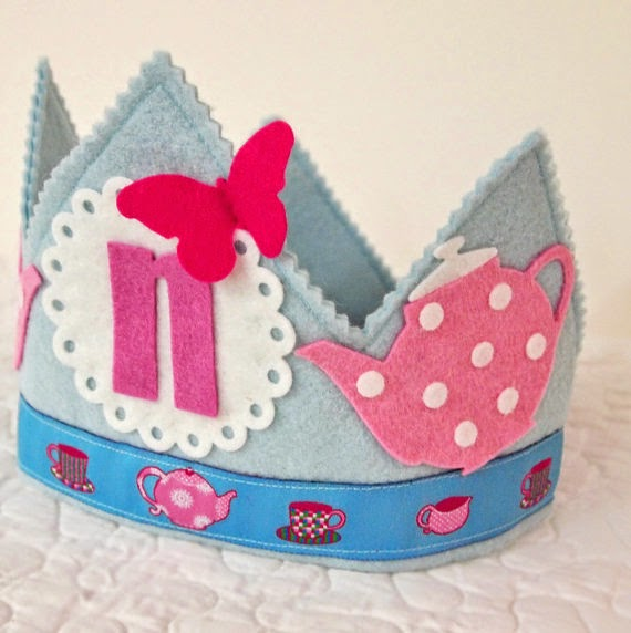 Alice In Wonderland Mad Hatter Tea Party Birthday Crown grey pink blue teapot