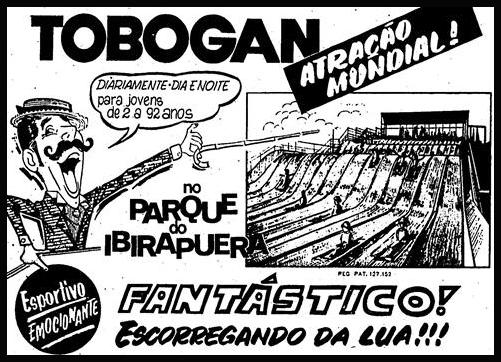 Propaganda do lançamento do tobogan no Parque do Ibirapuera na cidade de São Paulo em 1970