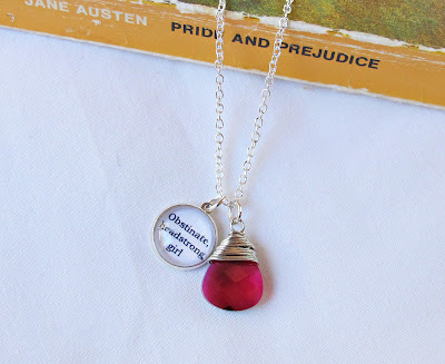 jane austen pride and prejudice obstinate headstrong girl quote necklace swarovski crystal jewellery two cheeky monkeys