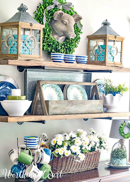 rustic farmhouse open shelves decorated for summer