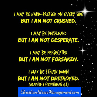 """I may be hard-pressed on every side but I am not crushed. I may be perplexed but I am not desperate. I may be persecuted but I am not forsaken. I may be struck down but I am not destroyed."" (Adapted 2 Corinthians 4:8)"