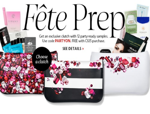 Sephora Free Fete Prep Party-Ready Samples + Clutch