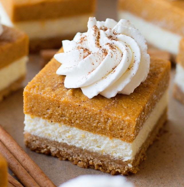 Pumpkin Pie Cheesecake Bars #cheesecake #dessert