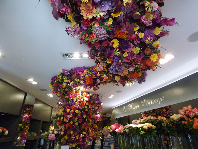 Floral display inside Neill Strain Floral Couture, London, for free flower festival Belgravia in Bloom 2018