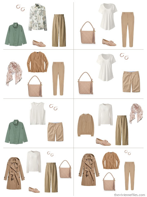 8 outfits in camel and ivory with blush and sage accents