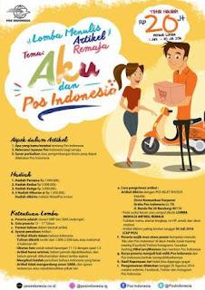 Lomba Menulis Artikel Remaja Aku dan Pos Indonesia 2016