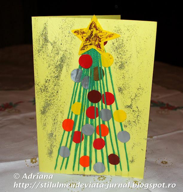 DIY - felicitare brăduţ pentru Crăciun