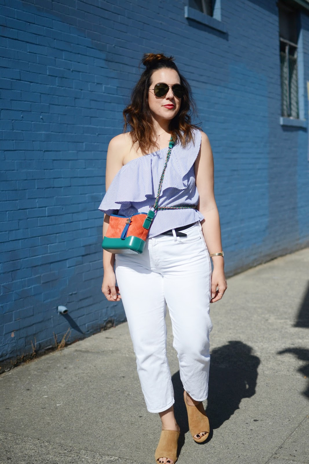 Small CHANEL Gabrielle bag striped shirt outfit summer date outfit vancouver fashion blogger