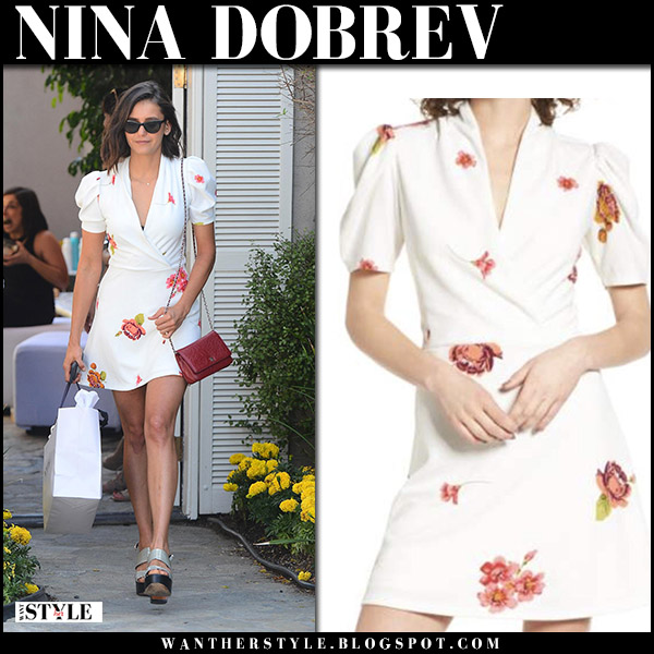 Nina Dobrev in white floral print mini dress and platform sandals robert clergerie summer street style august 2017