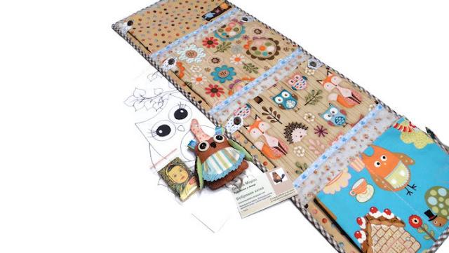 Кармашки в детский сад: в комплекте раскраска сова, шоколадка и мягкая игрушка сова. Три или четыре кармана, 60 см и 75 см