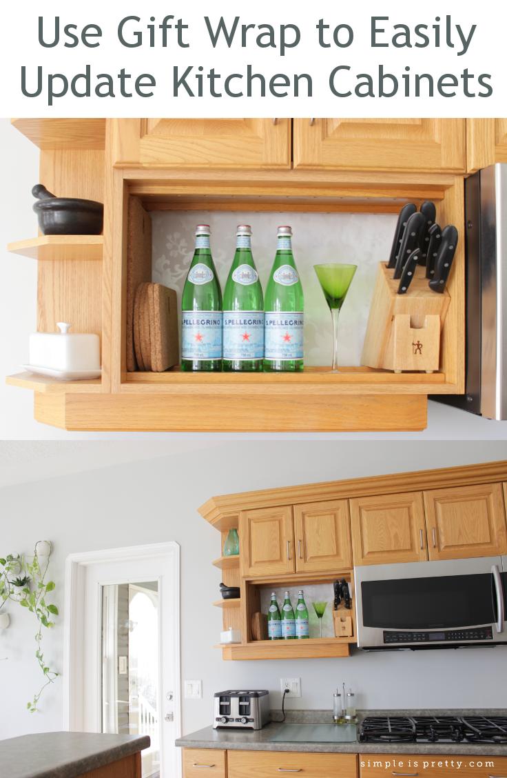 gift wrap kitchen cabinet update part 2 kitchen cabinet updates How to use gift wrap to update your kitchen cabinets