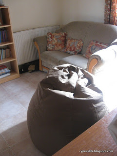 new brown beanbag in the sunshine
