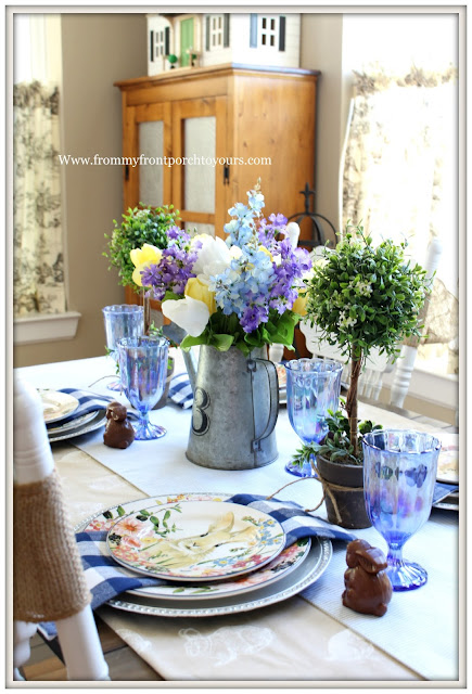 Spring-Easter-Tablescape-Cottage-Farmhouse-Buffalo Check-Pottery Barn-Flora-Dinnerware-From My Front Porch To Yours