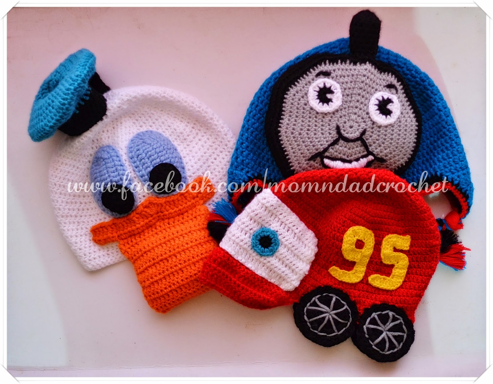 character hats, crochet hat, donald duck hat, McQueen Car hat, Thomas hat