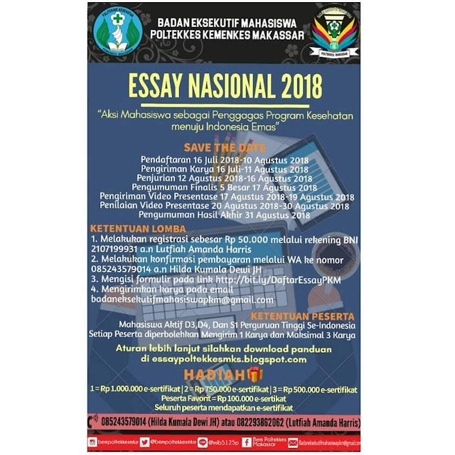 Lomba Essay Nasional 2018 Poltekkes Kemenkes Makassar