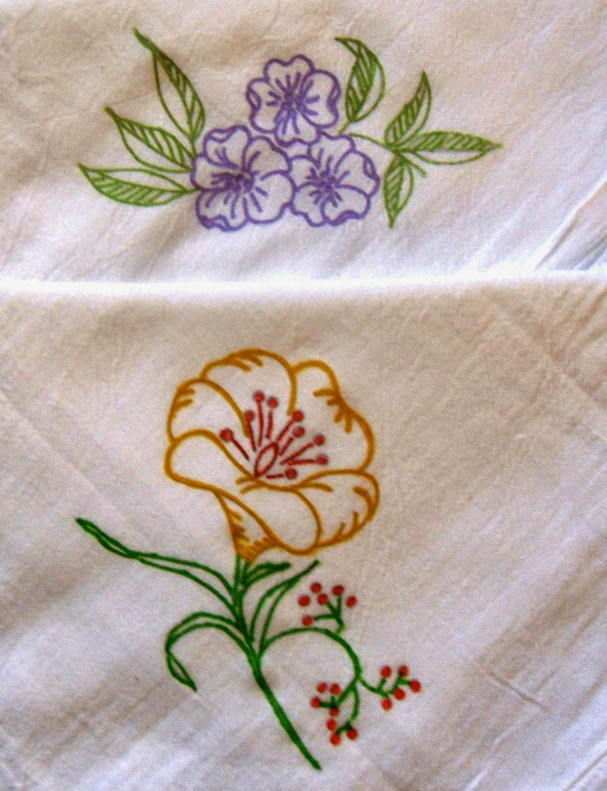 2 hand painted purple and yellow flowers flour sack dish towels?ref=shop_home_active_16