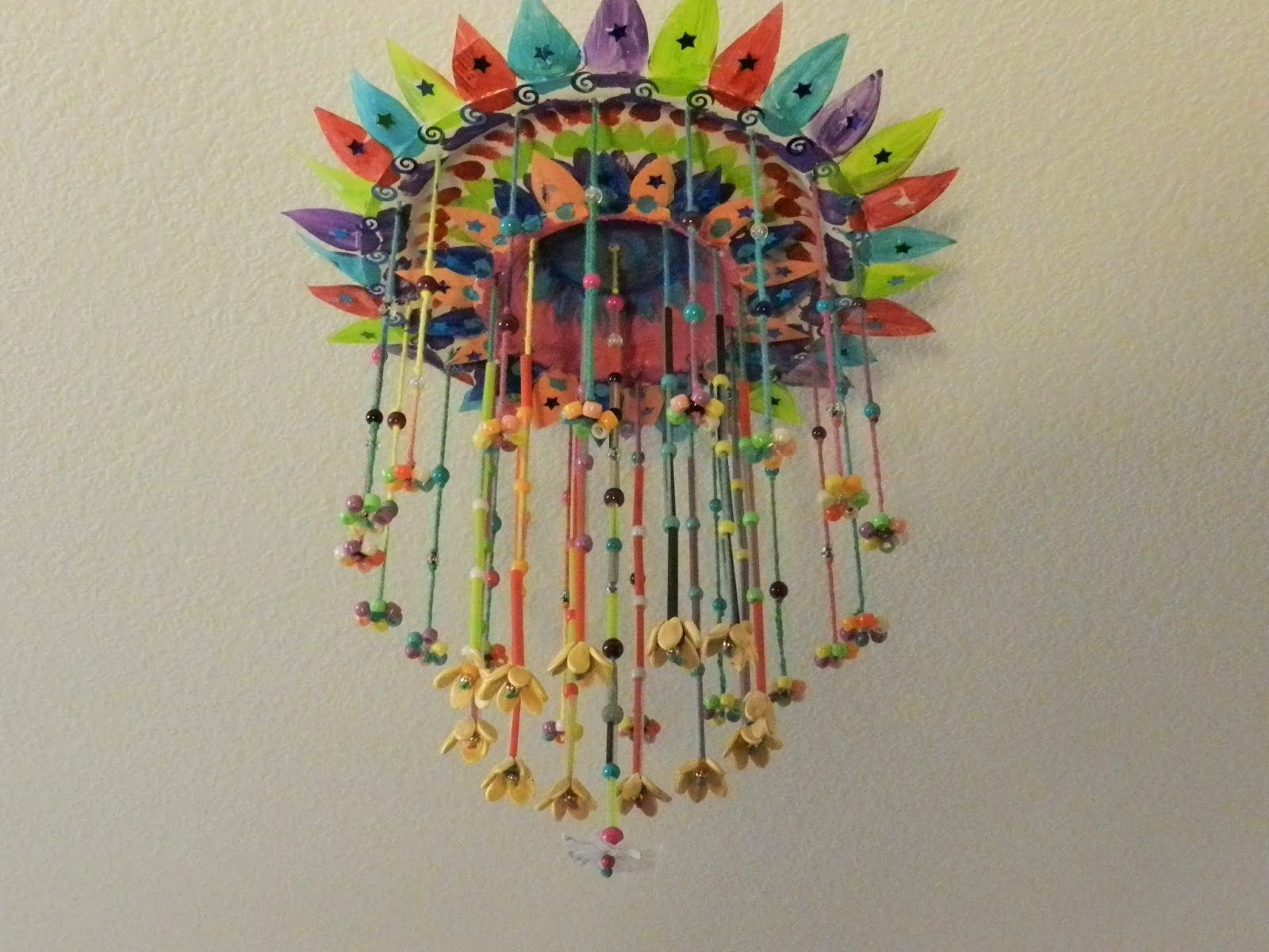 Creative DIY crafts: Paper plate hanging craft with beads ...
