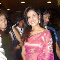 Genelia in pink saree