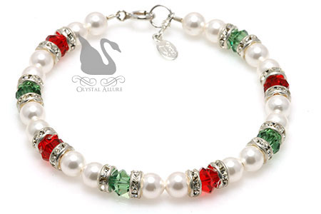 Holiday Snowballs Crystal Pearl Beaded Bracelet (B133)