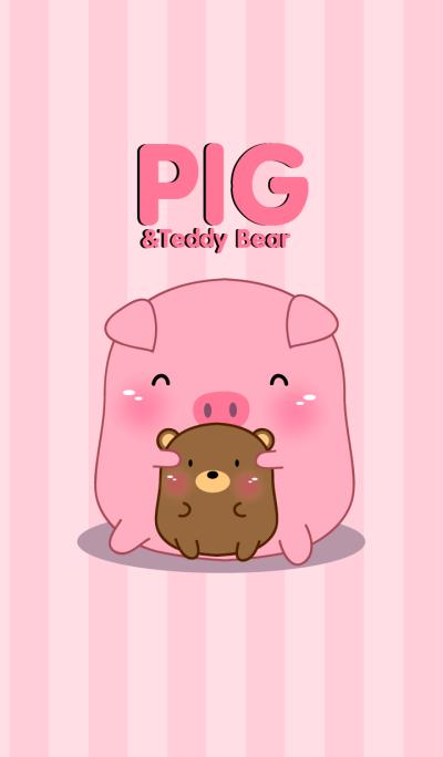 Cute pig & teddy bear