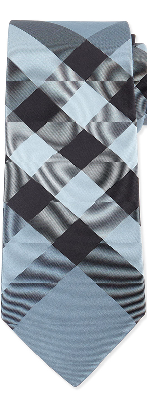 Burberry  Check Silk Tie, Light Blue