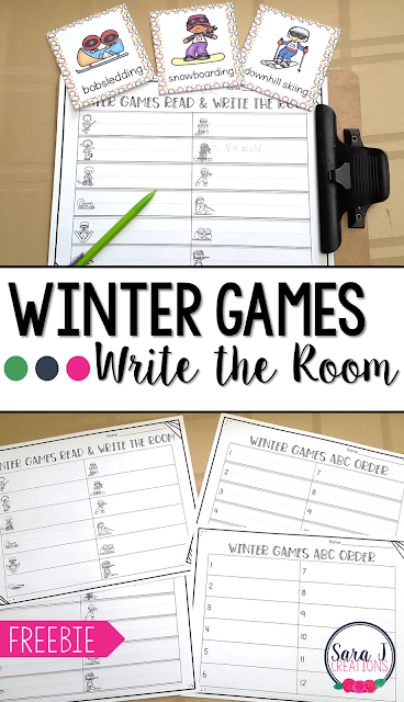 FREE Winter games themed read and write the room activity. Perfect for introducing new sports to your students. Great for alphabetical order too.